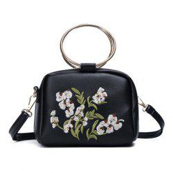 Embroidered Dual Metal Rings Handbag - BLACK