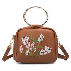 Embroidered Dual Metal Rings Handbag