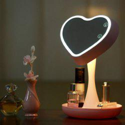 180 Degrees Rotate Heart Shaped USB Makeup Mirror Desk Lamp