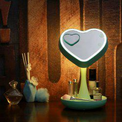180 Degrees Rotate Heart Shaped USB Makeup Mirror Desk Lamp - GREEN