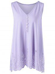Single Breasted Openwork Plus Size Scalloped Tank Top - LIGHT PURPLE