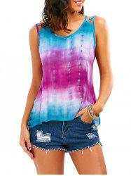 Tie-Dyed Print Sleeveless Baggy Blouse