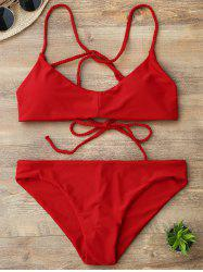 Braided Lace Up Back Padded Bikini - RED