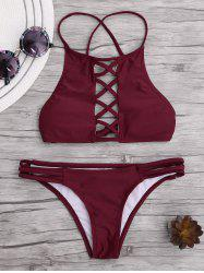 Lace Up Criss Cross Padded Bikini - WINE RED L