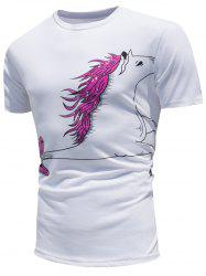Horse Printing Color Change Short Sleeve T-shirt
