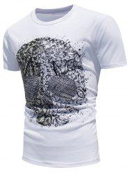 Skull Printed Color Changing Short Sleeve T-Shirt - WHITE