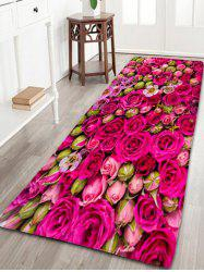 Wedding Rose Print Flannel Water Absorption Tapis de salle de bain - Rose