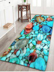 Turquoise Pebbles Print Skidproof Flannel Bathroom Rug - TURQUOISE GREEN