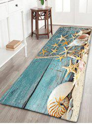 Nautical Starfish Print Flannel Skidproof Bathroom Rug - BLUE
