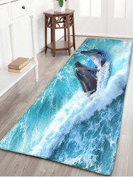 Nautical Dolphin Print Flannel Skidproof Bathroom Rug