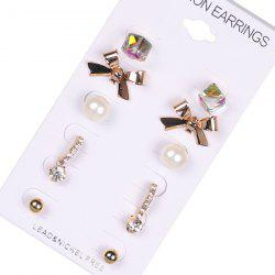 Faux Pearl Ball Bows Stud Earring Set