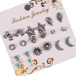 Vintage Sun Star Moon Stud Earring Set - MULTICOLOR