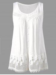 Openwork Single Breasted Crinkle Top - WHITE 2XL
