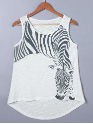 Zebra Pattern High Low Hem Tank Top