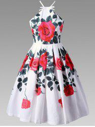 Floral Criss Cross Tea Length Vintage Dress
