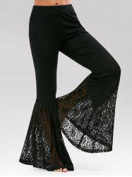 Lace Insert High Waisted Bell Bottom Pants - BLACK