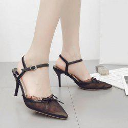 Bow Mesh Pointed Toe Pumps