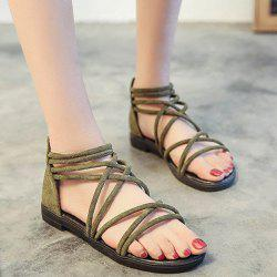 Cross Strap Zipper Flat Heel Sandals