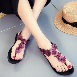 Elastic Band Flowers Flat Heel Sandals