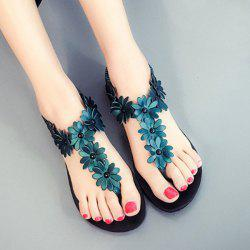 Elastic Band Flowers Flat Heel Sandals - BLACKISH GREEN