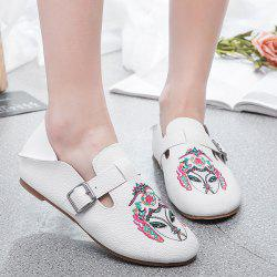 Buckle Strap Embroidery Flat Shoes - WHITE