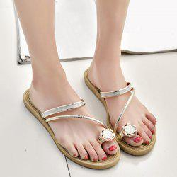 Toe Ring Metal Color Slippers - Or