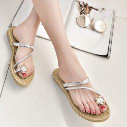 Toe Ring Metal Color Slippers - Argent