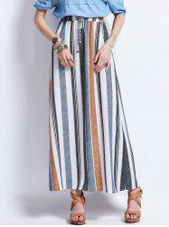 Striped Drawstring High Waisted Maxi Skirt
