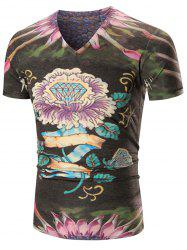 Diamond Print Floral V Neck Tee Shirt