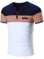 Faux Pocket Striped Notch Neck Tee