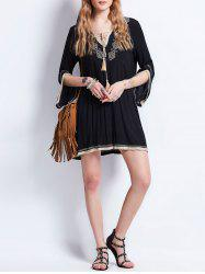 Tassel Lace Up Embroideried Bohemian Dress