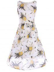 Floral Sleeveless A Line Organza Dress