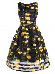Organza Trim Sleeveless Lemon Print A Line Dress