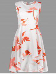 High Waisted Asymmetrical Floral Print Dress