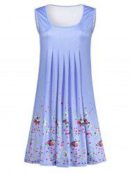 Floral Print Ruched Sleeveless Dress -