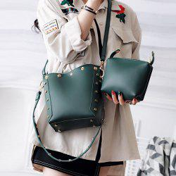 Rivet Crossbody Bag with Interior Bag