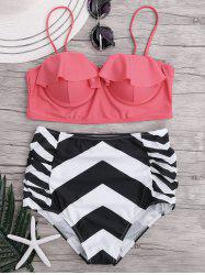 Zigzag Bikini Swimsuit with High Waisted Bottom - PINK