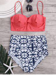 Ruffled Paisley High Waisted Bikini Set
