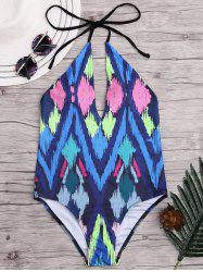 Halter Argyle Print Low Back Bathing Suit