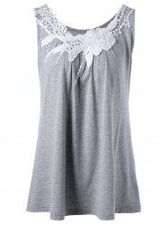Floral Lace Panel Tank Top - GRAY XL