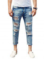 Zip Fly Cuffed Distressed Jeans