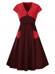 Plus Size Vintage Polka Dot Bandeau Dress and Crop Blouse