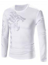 Lion Print Crew Neck Stretchy Long Sleeve T-Shirt