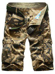 Zip Fly Flap Pockets Camo Cargo Shorts - KHAKI