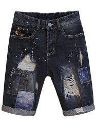Distressed Patch Design Jean Shorts