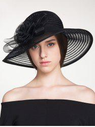 Striped Organza Rose Ribbon Sun Hat