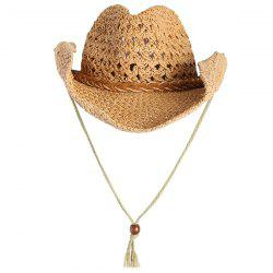 Cowboy Curled Brim Woven Straw Hat - YELLOW