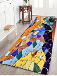 Colorful Mosaic Flannel Skid Resistant Bathroom Rug