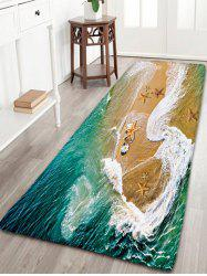 Sea Beach Print Flannel Antislip Bathroom Rug - DEEP GREEN