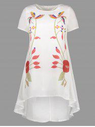 Printed Asymmetrical Dress - WHITE